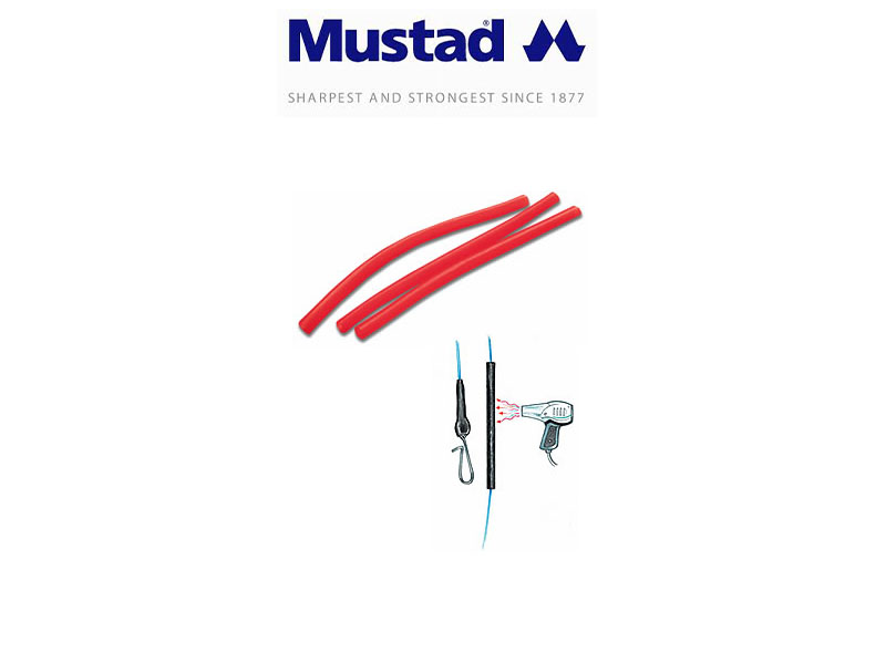 Mustad PVC fluo red tubing (Size: 1mmX8cm, 10pcs)