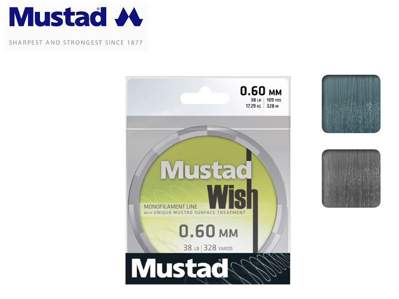 Mustad Wish Smoke Monofilament 300mt (Size:0.35mm, Test: 7.28kg)