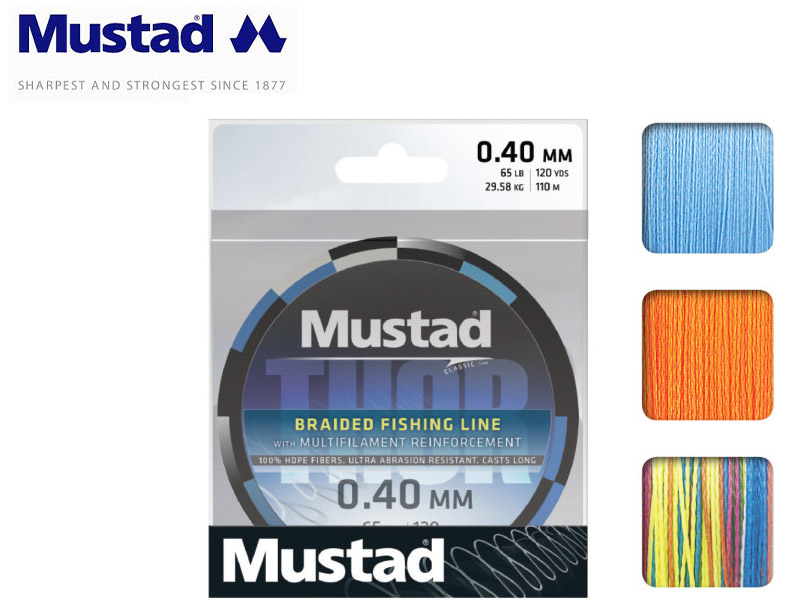 Mustad Thor Braided Multicolor 250mt Lines (Size: 0.15mm, Test: 11.38kg)