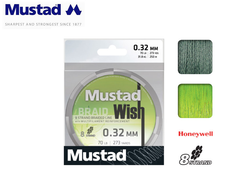 Mustad Wish Braided Dark Green 250mt Lines (Size: 0.24mm, Test: 21.8kg)