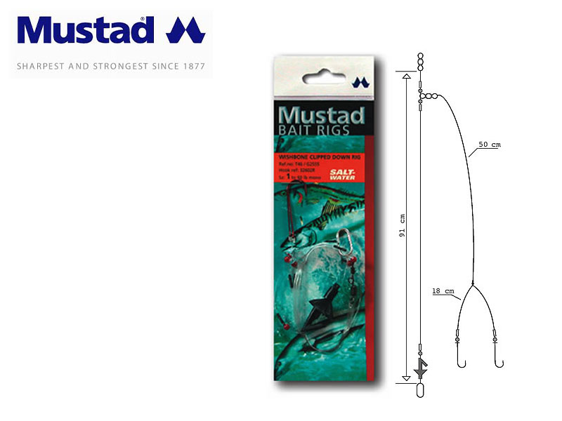 Mustad Wishbone Clipped Down Rig (Hook: 1)