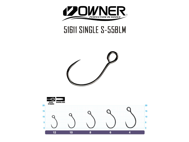 Owner 51611 S-55BLM Single Hook (Size: 8, Pack: 9pcs)