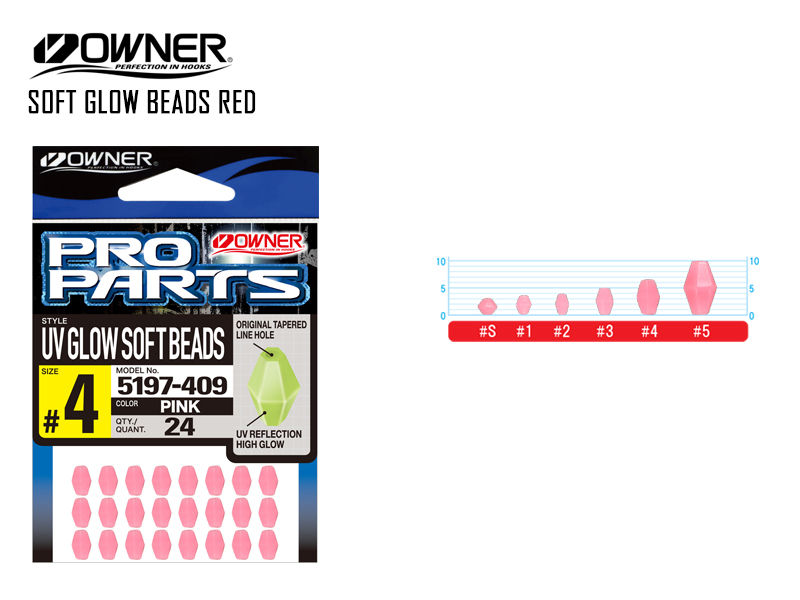 Owner 5197 Soft Glow Beads Red (#3, 28pcs)