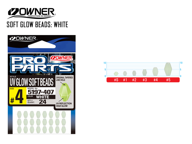 Owner 5197 Soft Glow Beads White (#3, 28pcs)