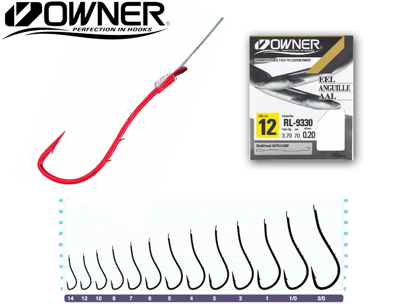 Owner RL-9330 Baitholder Pre-Tied Hooks (Size:2, Line Diameter: 0.35mm, Line Length: 70cm, Qty: 7pcs)