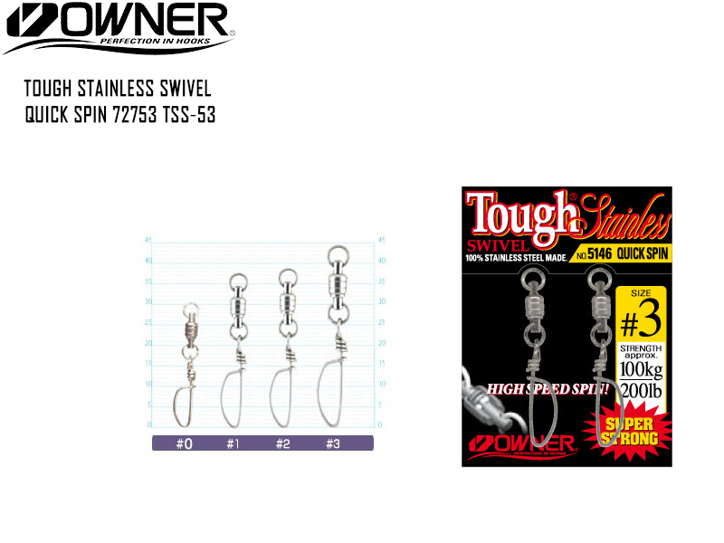 Owner 72753 TSS-53 Tough Stainless Swivel Quick Spin (Size:#1, Strength:53lb/24kg, Pack:2pcs)