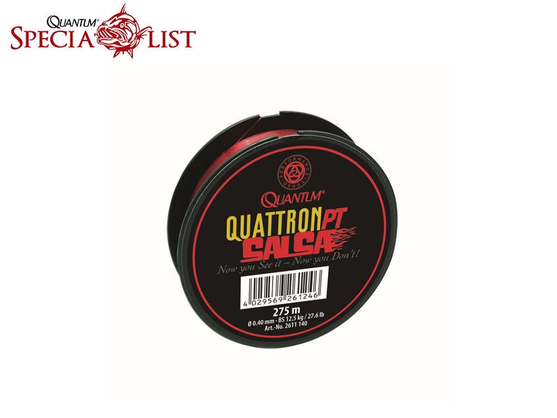 Quantum Quattron Salsa (0.18mm, 2.8kg, 6.2lb, Length: 275m, Colour: trasparent-red)