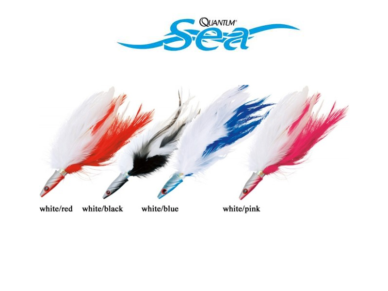 Quantum Sea Feather Head Jig 15cm, White/Red)
