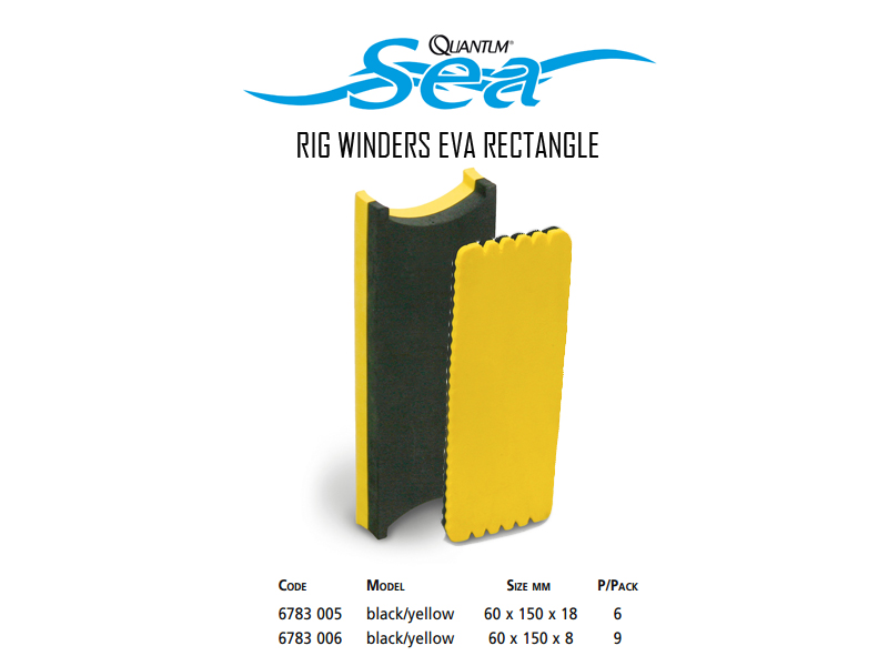 Quantum Rig Winder Eva Rectangle (Colour: Black/Yellow, Size: 60x150x18 mm, Pack: 6pcs)