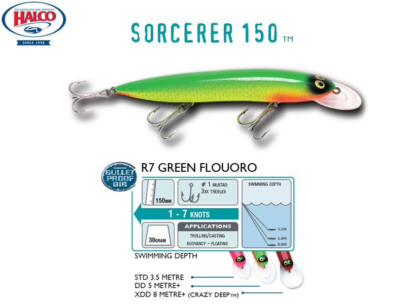 Halco Sorcerer 150DD (150mm, 30g, Color: #R7)