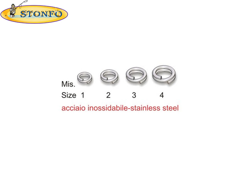 Stonfo Split Rings (Size 4: &#8960 int mm 7,5. Strength Kg 60. Weight gr 0,85, 10pcs)