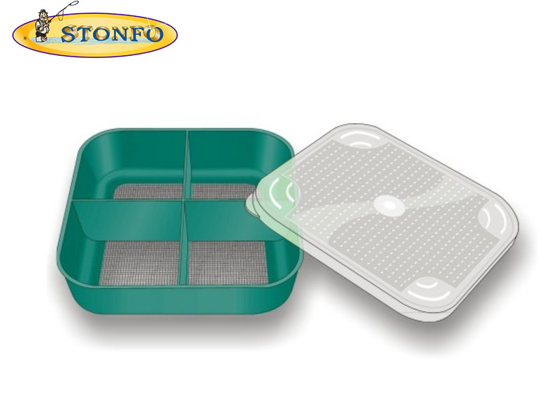 Stonfo Square Bait Boxes with Mesh (Size: 4 compartments)