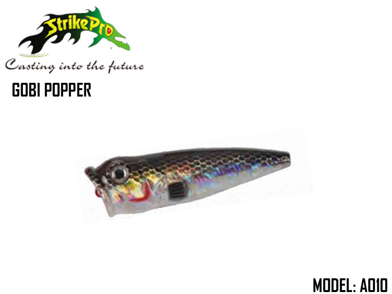 Strike Pro Gobi Popper (Model: SP-163B, Color: A010, Body Length: 6.5cm, Weight: 8.7gr, Hook-VMC: 9649-NI-6)
