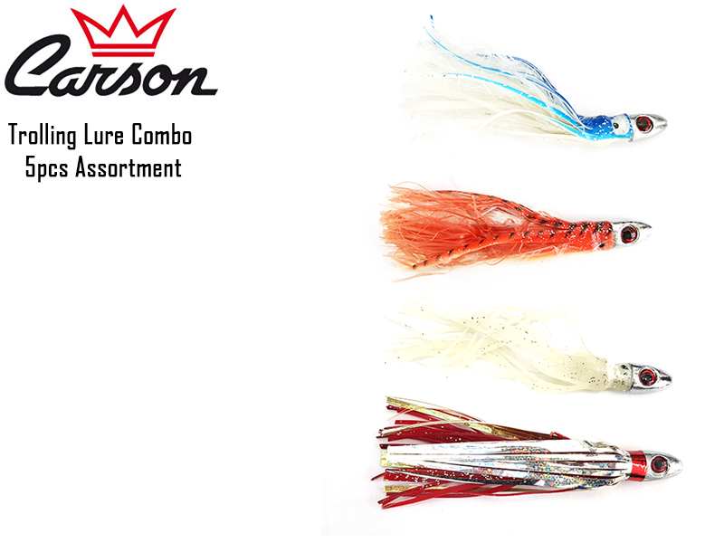 Carson Trolling Lure Set 5pc Assortment (Color: Orange - Red - White - Blue)