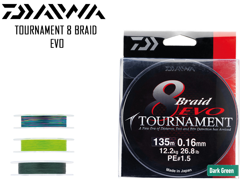 Daiwa Tournament 8 Braid EVO ( Length: 300mt, Diameter: 0.20mm, Color: Multicoloured)