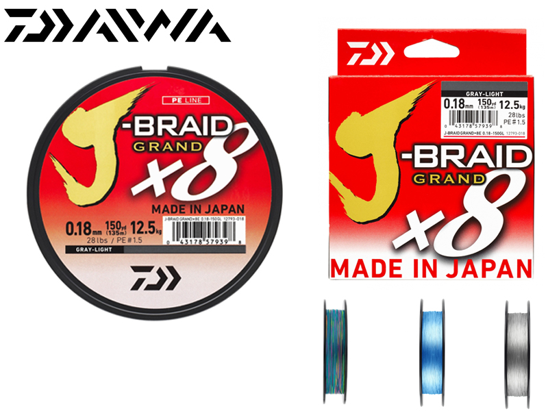 Daiwa J-Braid Grand X 8 (Length: 300mt, Diameter: 0.20mm, Color: Multicolor)
