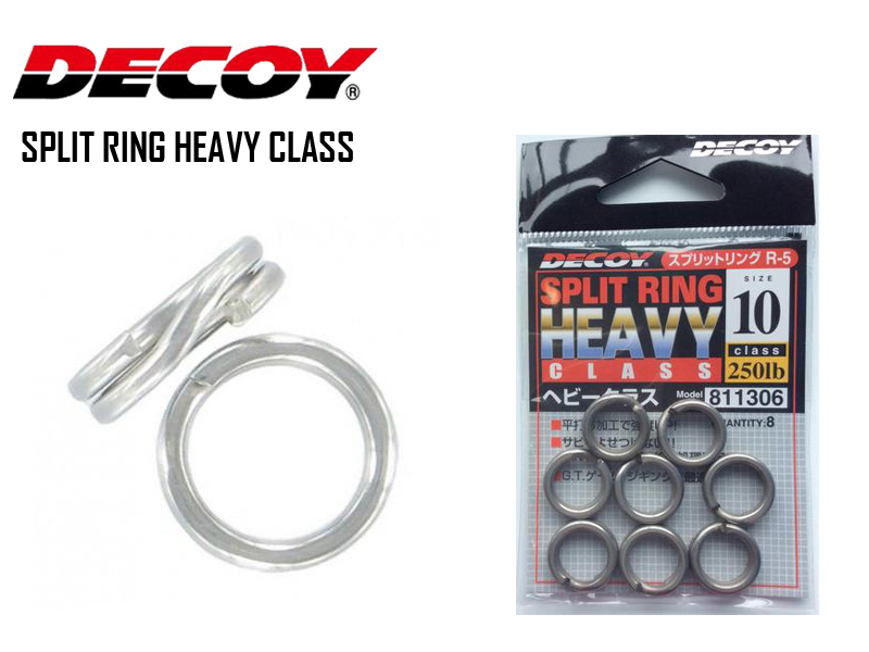 Decoy Split Ring Heavy Class Silver (Size:#9, Strength:200lb, Pack: 10pcs)