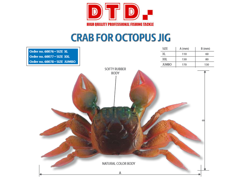 DTD Crab for Octopus Jig (Size: XL)