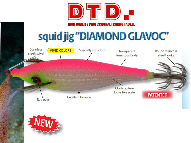 DTD Squid Jig Diamond Glavoc (Size: 3.0, Color: Orange)