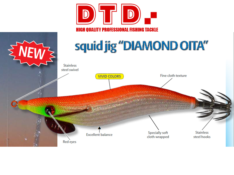 DTD Squid Jig Diamond Oita (Size: 2.5, Color: Pink)