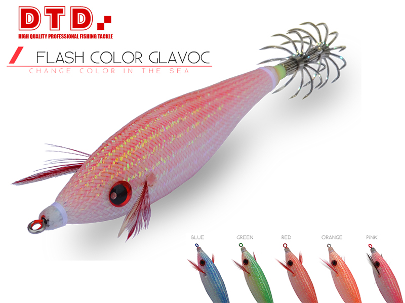 DTD Squid Jig Flash Color Glavoc (Size: 3.0, Colour: Orange)