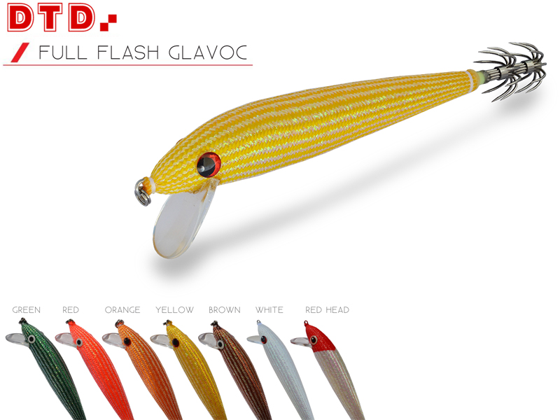 DTD Trolling Squid Jig Full Flash Glavoc (Size: 110mm, Color: Red Head)