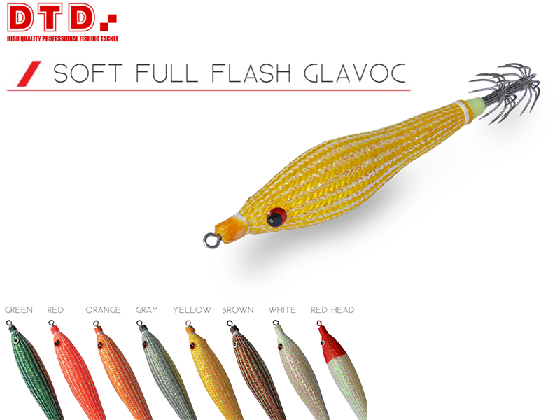 DTD Squid Jig Soft Full Flash Glavoc (Size: 1.5, Color: Red Head)