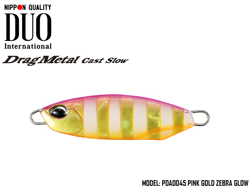 Duo Drag Metal cast Slow (Length: 43.5mm, Weight: 15gr, Color: PDA0045 Pink Gold Zebra Glow)
