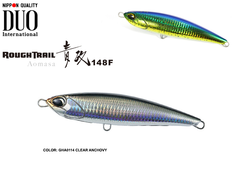 Duo Rough Tail Aomasa 148F (Length: 148mm, Weight: 38gr, Type: Floating, Colour: GHA0114 Clear Anchovy)