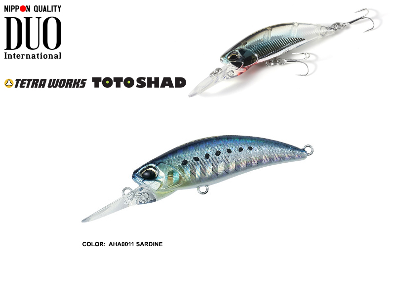 DUO Tetra Works Toto Shad (Length: 48mm, Weight: 4.5gr, Color: AHA0011 Sardine)
