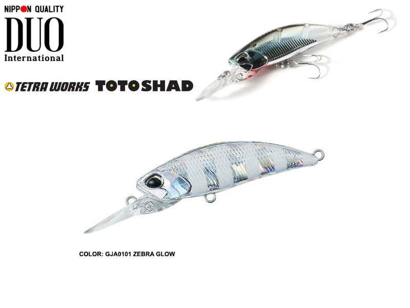 DUO Tetra Works Toto Shad (Length: 48mm, Weight: 4.5gr, Color: GJA0101 Zebra Glow)