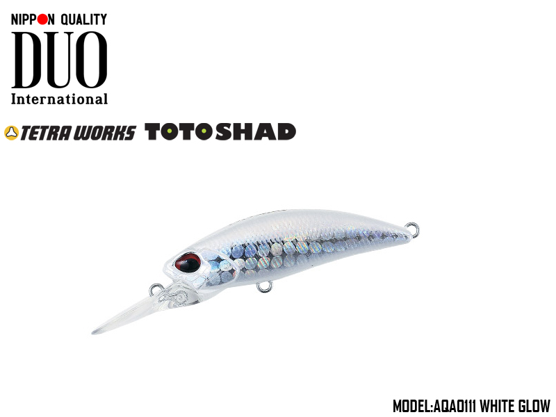 DUO Tetra Works Toto Shad 48S (Length: 48mm, Weight: 4.5gr, Color: AQA0111 White Glow)
