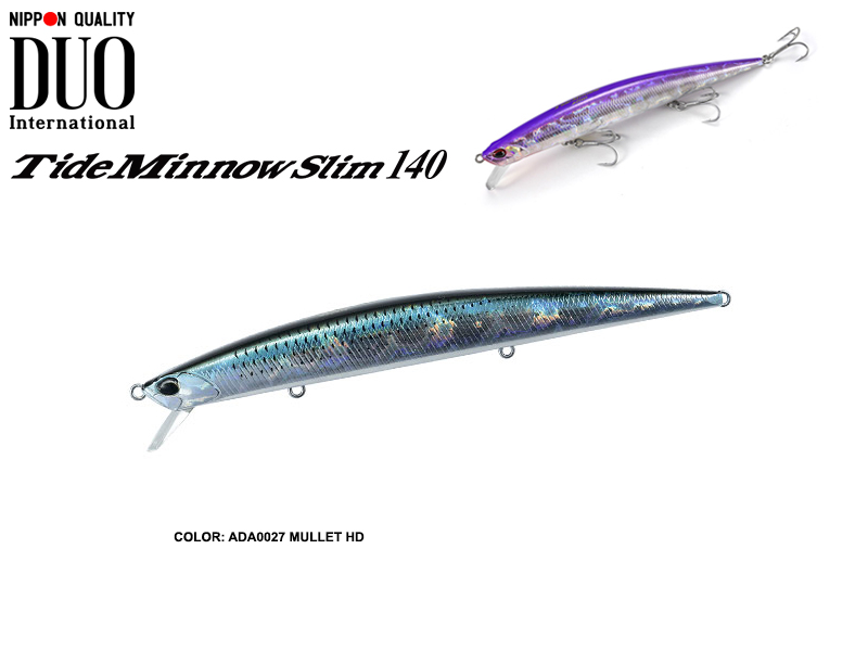 DUO Tide Minnow Slim 140 Lures (Length: 140mm, Weight: 18g, Model: ADA0027 Mullet HD)