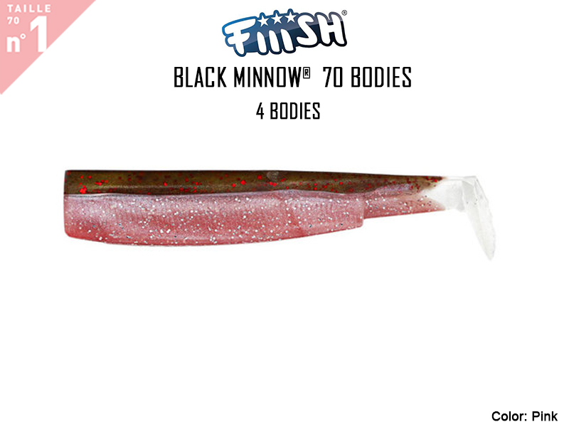 FIIISH Black Minnow 70 Bodies - 4 Bodies Pack ( Color: Pink, Pack: 4pcs)