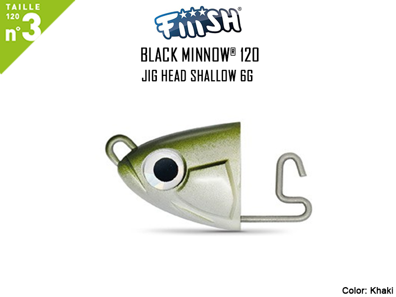 FIIISH Black Minnow 120 Jig Head Shallow (Weight: 6gr, Color: Khaki, Pack: 2pcs)