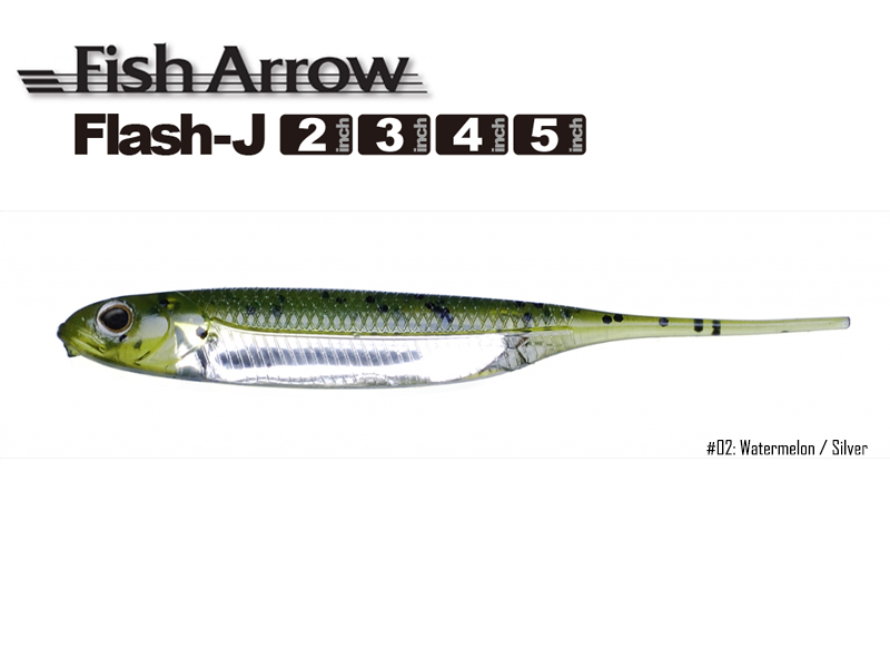 Fish Arrow Flash-J 5\'\' (Length: 5\'\', Color:#02 Watermelon / Silver, Pack:5pcs)