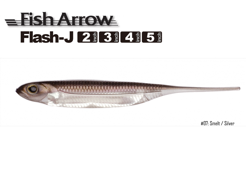 Fish Arrow Flash-J 5\'\' (Length: 5\'\', Color:#07 Smelt / Silver, Pack:5pcs)