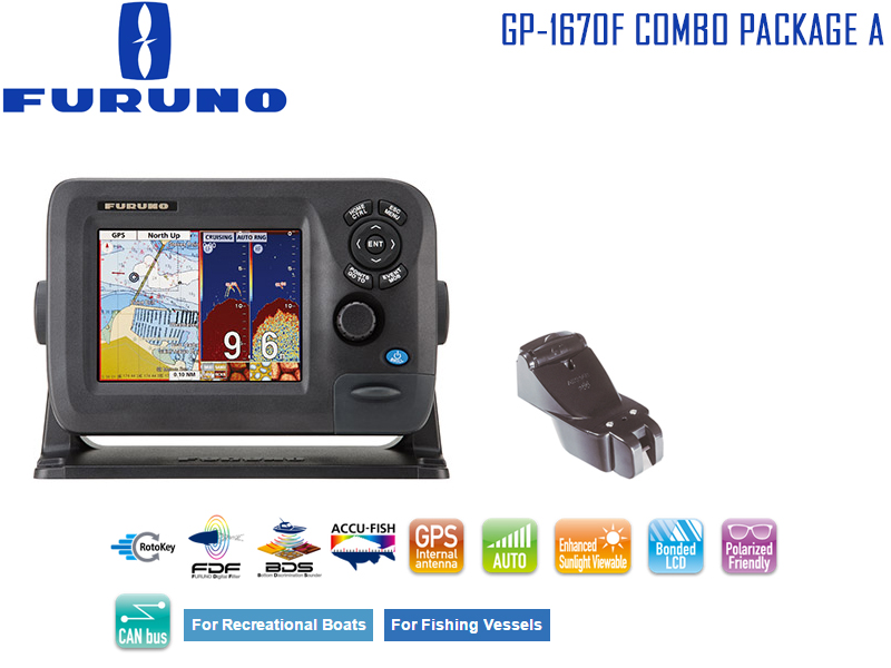 Furuno GP-1670F Combo Package A: Chart Plotter & Fishfinder Combo + P66DT Transducer