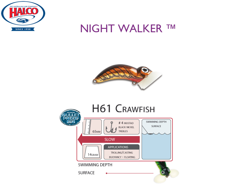 Halco Night Walker (Length: 65mm, Weight: 14gr, Color: H61 Crawfish)