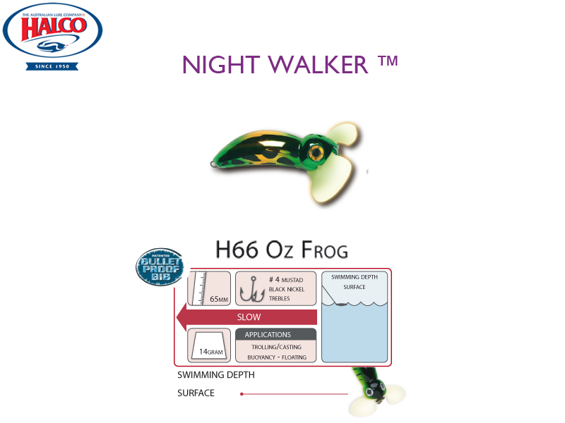 Halco Night Walker (Length: 65mm, Weight: 14gr, Color: H66 Oz Frog)