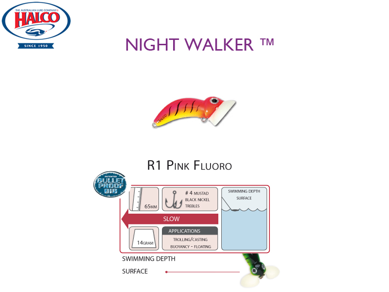 Halco Night Walker (Length: 65mm, Weight: 14gr, Color: R1 Pink Fuoro)