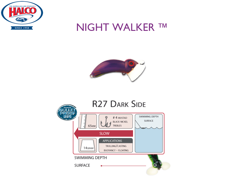 Halco Night Walker (Length: 65mm, Weight: 14gr, Color: R27 Dark Side)