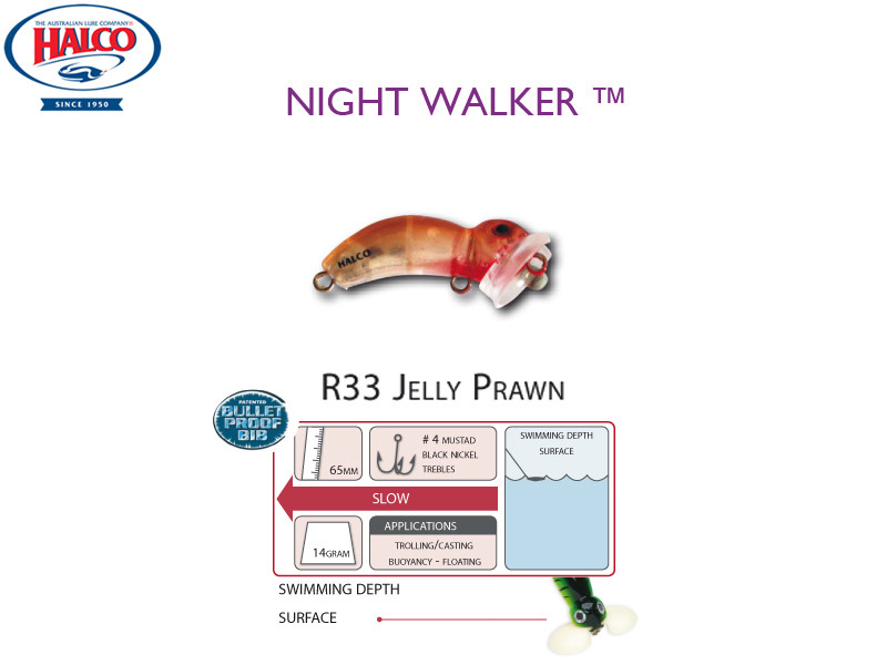 Halco Night Walker (Length: 65mm, Weight: 14gr, Color: R33 Jelly Prawn)