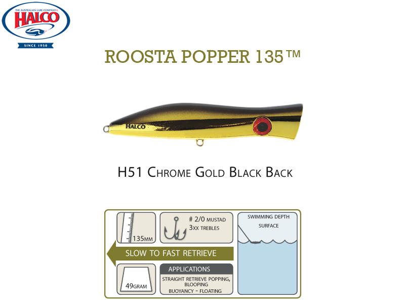 Halco Roosta Popper 135 (135mm, 49gr, Color: H51)