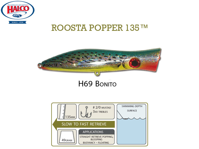 Halco Roosta Popper 135 (135mm, 49gr, Color: H69)