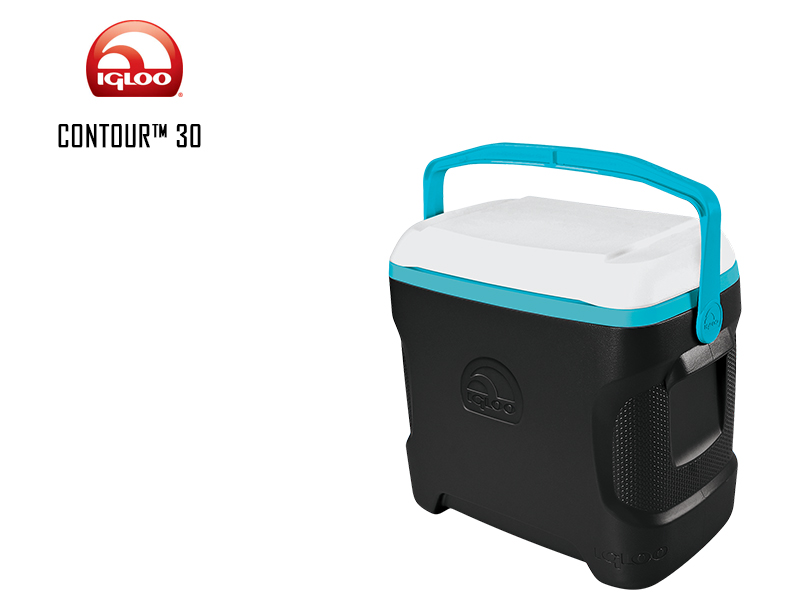 Igloo Cooler Contour (Quarts: 30, Color: Black Tantalizing Turquoise White )