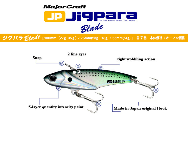 Major Craft Jigpara Blade (Length: 75mm, Weight: 23gr, Color: #15 UV Sardine)