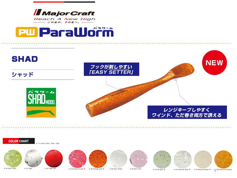 Major Craft Paraworm Shad ( Length: 7.62cm, Color: #109 Keimura Pink, Pack: 7pcs)