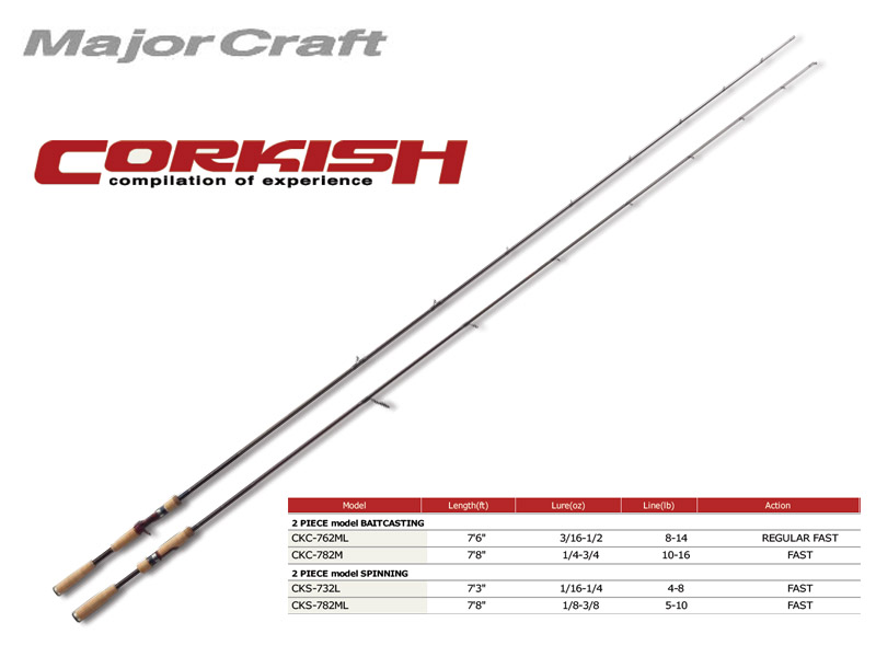 MajorCraft Corkish Baitcasting CKC-762ML (Length:2.32mt, Lure:3/16-1/2 oz)