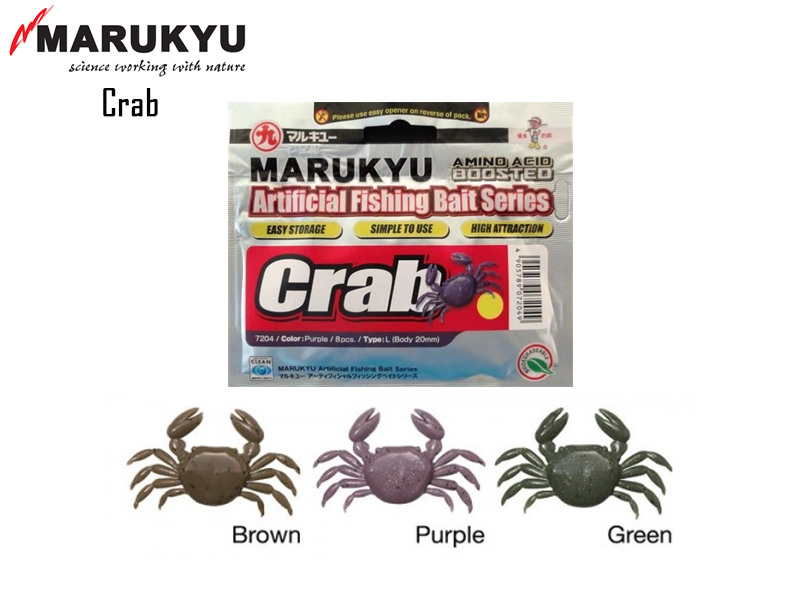 Marukyu Crab L (Length: 15mm, Color: Green, Qty: 10pcs)